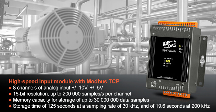 High speed input-output module PET-7H16M with Modbus TCP