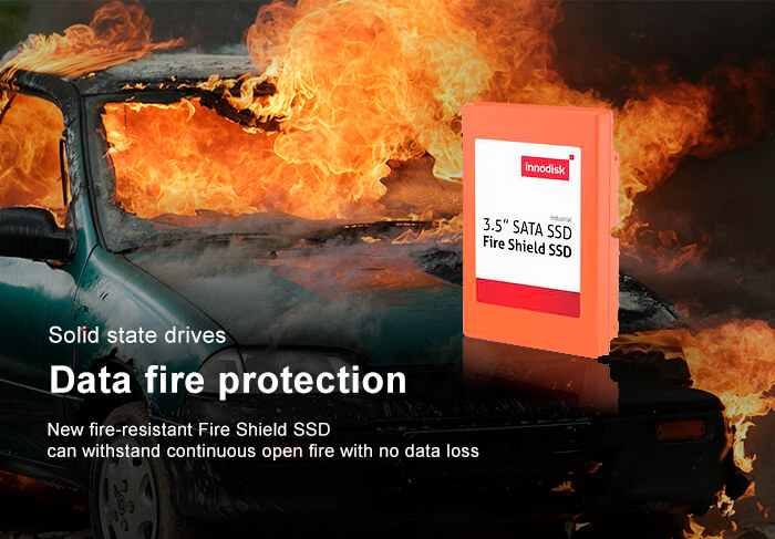 "Fire-resistant 3.5"" Fire Shield SSD by innodisk"